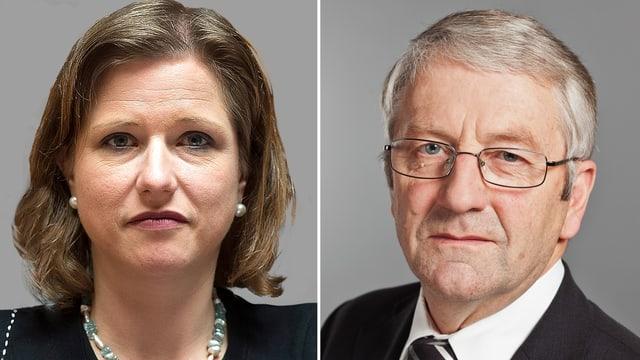 Porträts zweier Politiker.