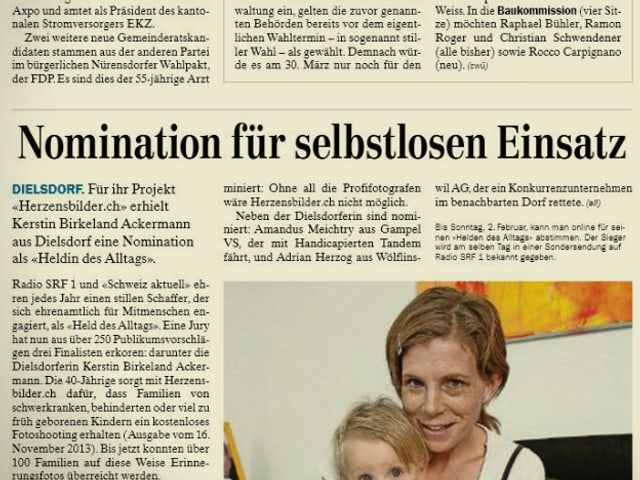 Zeitungsartikel vom «Zürcher Unterländer» am 29. Januar 2014.