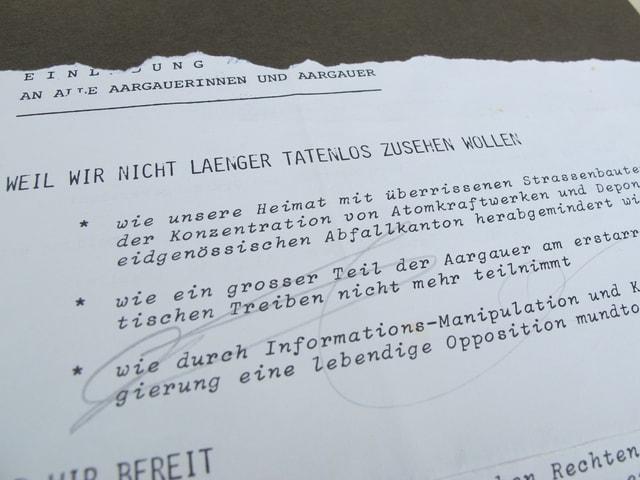 Ausschnitt aus dem Einladungsschreiben der Grünen.