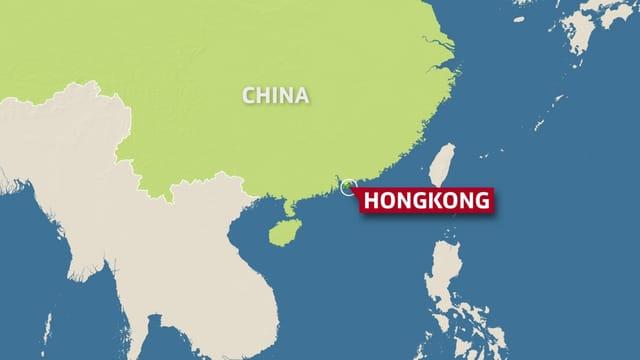 Karte von China und Hongkong