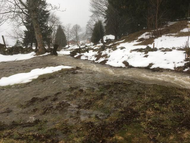Überschwemmungen im Obertoggenburg.
