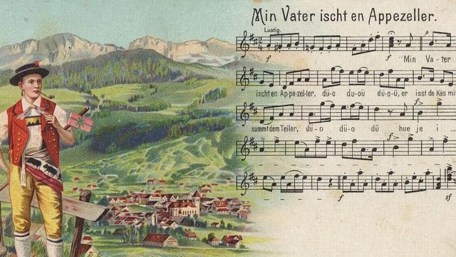Alte Zeitschritftenwerbung mit Apnezeller in Tracht auf der einen Bildhälfte.. dahinter erblickt man ein Dorf und im Hintergrund die Appenzeller Bergwelt. Auf der zweiten Bildhälte fügt sich das Volkslied mit Noten und Text hinein.