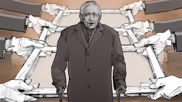 Illustration: Hände zerren in verschiedene Richtungen an Bildern. Im Vordergrund ein älterer Mann.