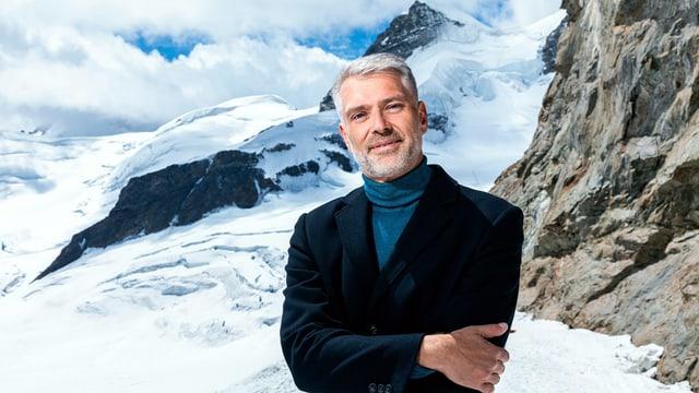 Sandro Brotz vor dem Jungfraujoch