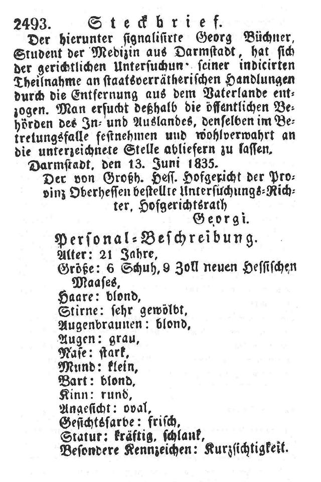 Steckbrief von Georg Büchner