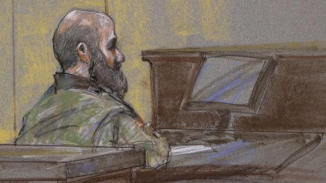 Der Angeklagte im Gerichtssaal (Gerichtszeichnung)