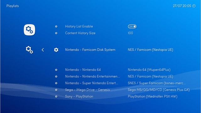 Ein Screenshot der Benutzeroberfläche des Emulatoren-Programmes Retroarch.