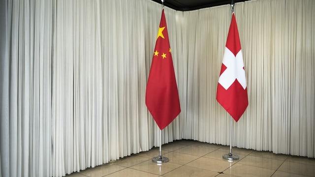 Chinesische und Schweizer Flagge.
