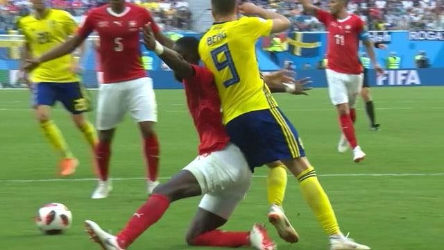 Fussballspieler beim Match Schweiz gegen Brasilien