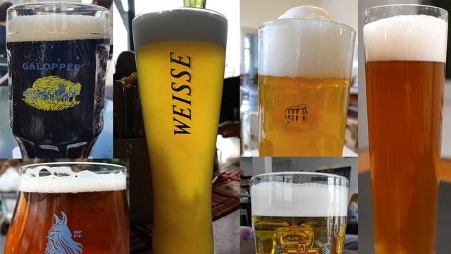 Eine Collage mit verschiedenen Biergläsern mit verschiedenen Bieren.