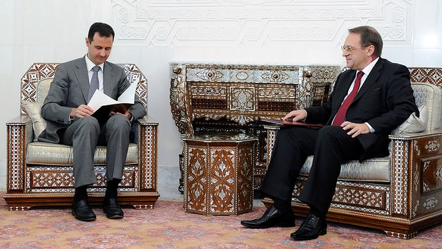 Baschar al-Assad und Michail Bogdanow (rechts)