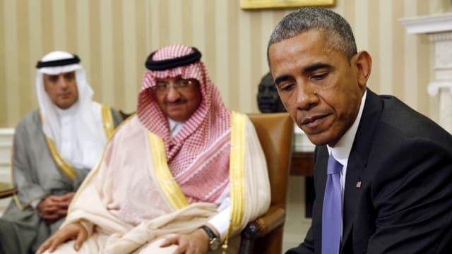 US-Präsident Obama mit dem saudischen Prinzen und Innenminister Mohammend bin Nayef im Oval Office (13.5.15)