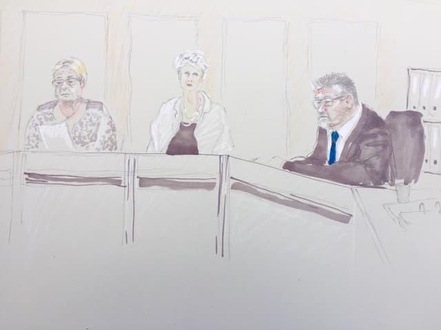 Zwei Frauen und der Gerichtspräsident