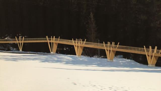 Ina fina construcziun da lain da 115 meters lunghezza sur la via principala