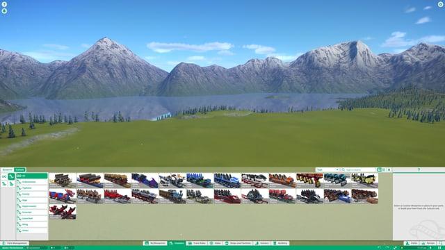 Eine grüne Wiese und viele Achterbahnwagen.