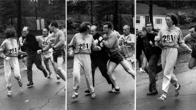 Kathrine Switzer beim Boston-Marathon 1967.