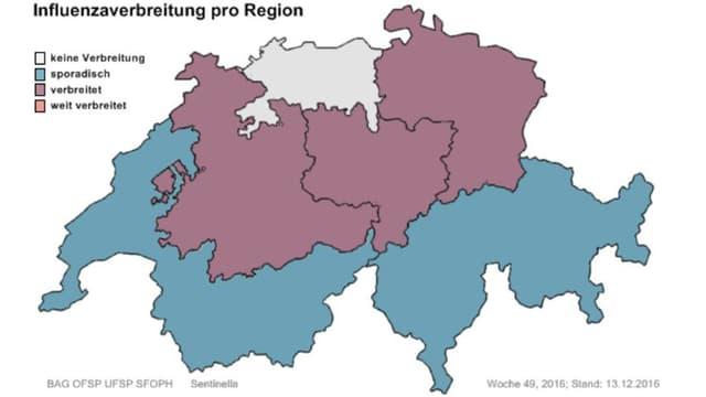 Schweizer Karte mit Grippe-Verbreitung pro Region