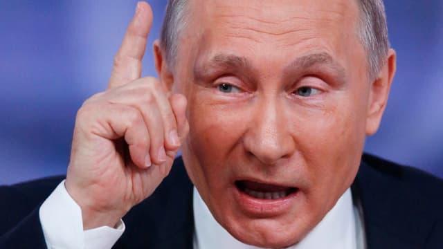 Wladimir Putin erhebt den Mahnfinger an seiner jährlichen grossen Medienkonferenz