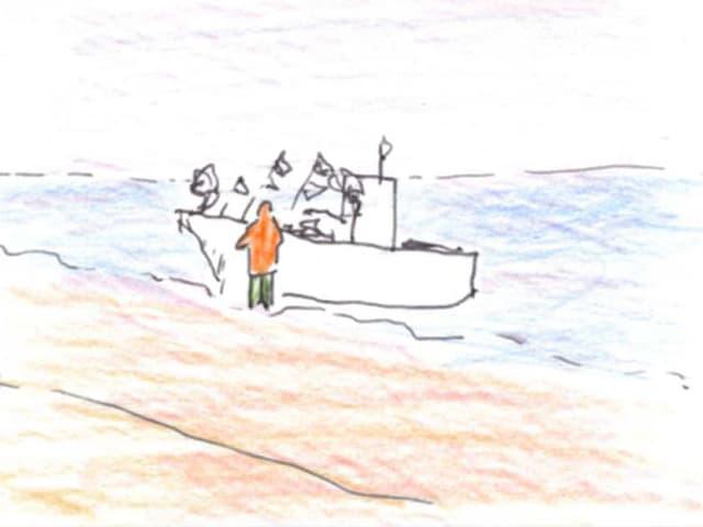 Zeichnung eines Menschen, der an einem Boot am Strand steht.