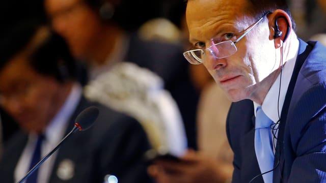 Aufnahme des australischen Premiers Tony Abbott an einer Konferenz.