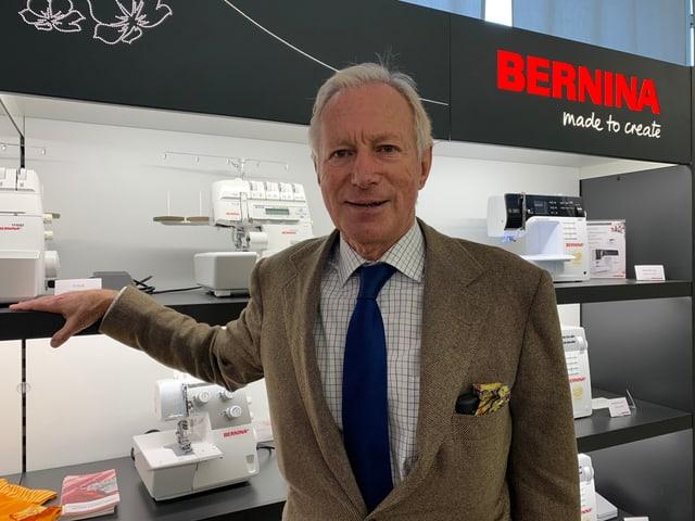 Hanspeter Ueltschi, Inhaber der Bernina International AG, in Steckborn.