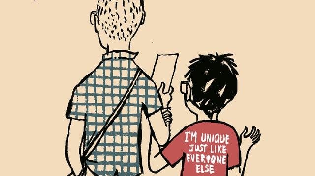 Comic: Rückenansicht von einem Mann und einem Kind. Überschrift: Maria y yo.