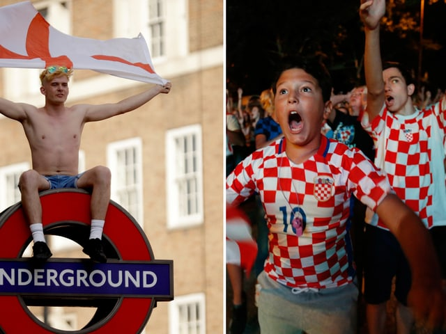 Kombibild mit englischen und kroatischen Fans, die jubeln.