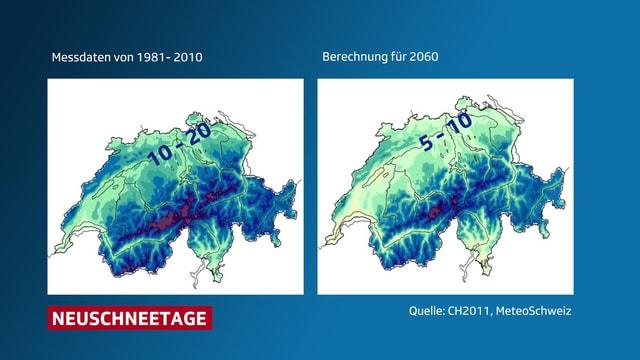 Zwei Schweizerkarten mit farbiger Darstelltung der Schneetage. In der Zukunft werden diese abnehmen.
