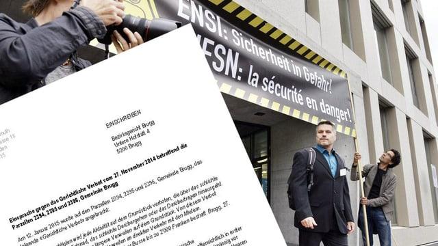 Protest vor dem Ensi-Hauptsitz in Brugg, im Vordergrund Einsprache-Schreiben