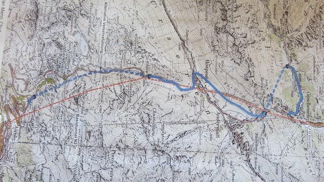 Eine Karte des Gotthards, darauf eingezeichnet eine Idee für eine Alternativstrecke zum zweiten Tunnel