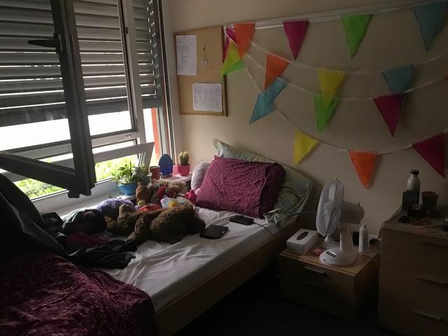 Bett mit vielen Kuscheltieren
