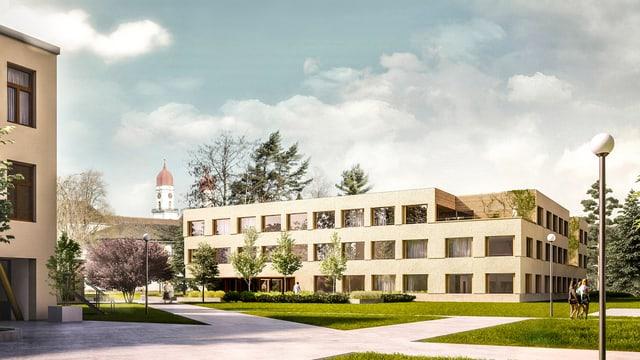 Visualisierung des Neubauprojektes für die Alterspsychiatrie in St. Urban (Kanton Luzern).