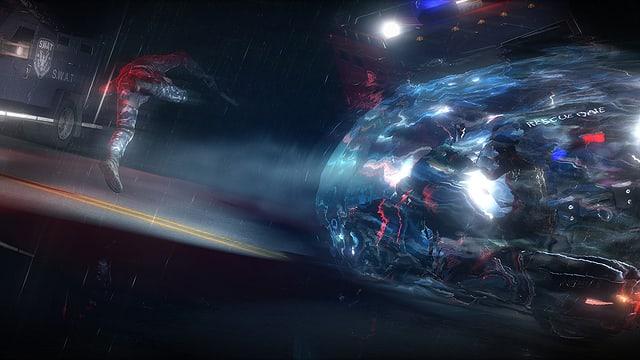 Szene in der Nacht, ein Plasma-Ball ist zu sehen.