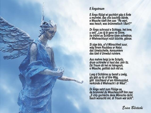 Ein Gedicht auf einem Bild mit einem Engel.