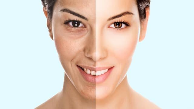 Eine Frau, der eine Gesichtshälfte natürlich, die andere retouchiert ist.