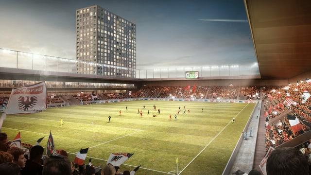 Eine Visualisation eines Fussballstadions