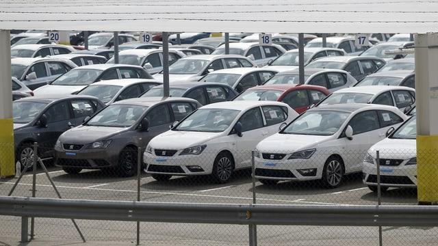 Neue Seat-Autos auf einem Parkplatz