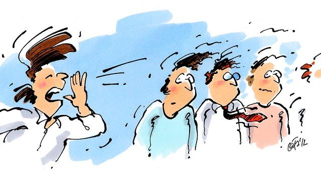Zeichnung: Ein Mann schreit drei andere an.