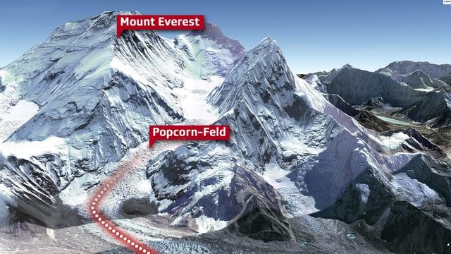 Eine Karte des Mount Everest.