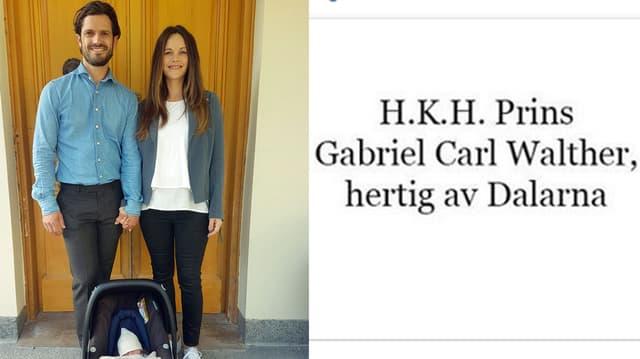 Prinz Carl Philip, Prinzessin Sofia und Prinz Gabriel beim Verlassen des Krankenhauses.