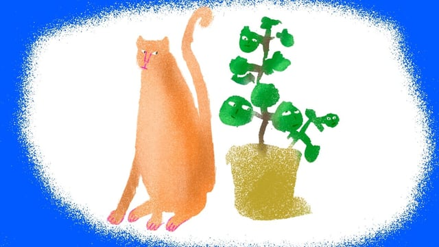 Illustration: Katze sitzt neben einer Topfpflanze