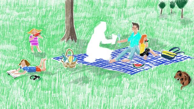 Illu: Picknickszene mit Phantom.