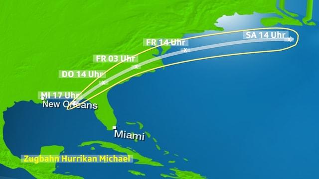 Auf der Nordamerikakarte dargestellte Zugbahn des Hurrikans Michael bis Samstag Mittag.