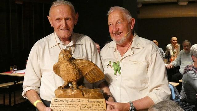 Zwei Männer und ein Pokal in Form eines Adlers.