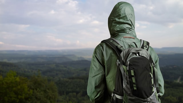Ein Mann in Funktionsjacke und Rucksack blickt über eine grüne Landschaft.