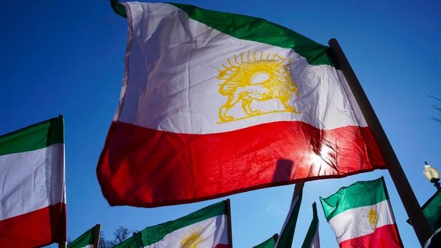 Iranische Flaggen wehen im Wind.