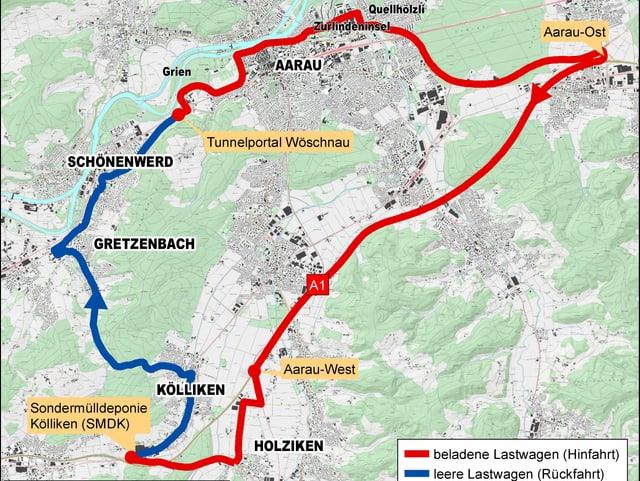 Landkarte. Darauf eingezeichnet sind die unterschiedlichen Routen für die beladenen und die leeren Lastwagen.