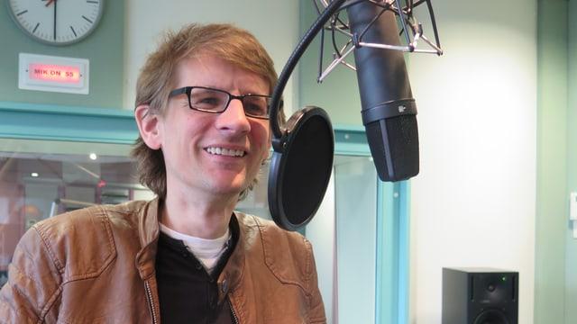 Tabeling im Radiostudio in Aarau beim Interview.
