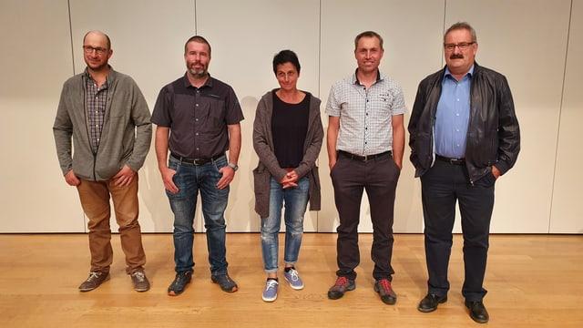 La nova suprastanza da Valsot; da sanestra Andri Cantieni, Armon Kirchen, Ursina Caviezel, Fadri Riatsch e Victor Peer