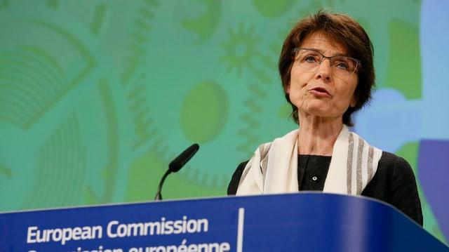 La cumissaria da l'UE Marianne Thyssen.